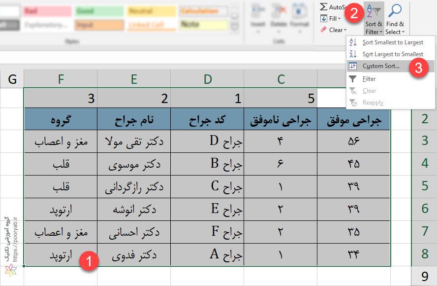 04 SelectTable - آموزش تصویری اکسل - مرتب سازی ستون ها در اکسل (مرتب سازی افقی)