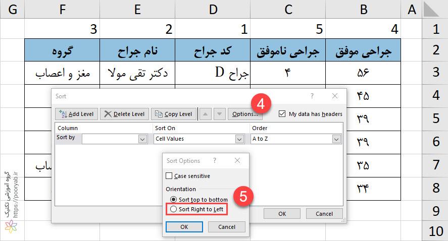 05 Sort RightToLeft - آموزش تصویری اکسل - مرتب سازی ستون ها در اکسل (مرتب سازی افقی)