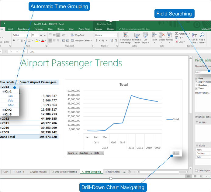 PivotTable in excel 2016
