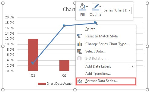 Actual Vs Target Chart in Excel Format data series of the line chart - ایجاد نمودار KPI (واقعی و هدف) در اکسل