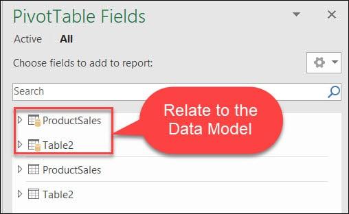 Data Model 8.Tables in Pivot Table - چیستی و مزایای مدلسازی دادهها در اکسل