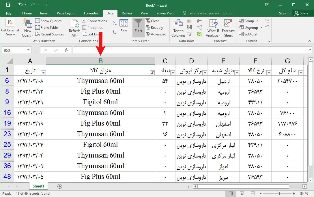 Filtering 8 - فیلتر کردن داده ها در اکسل
