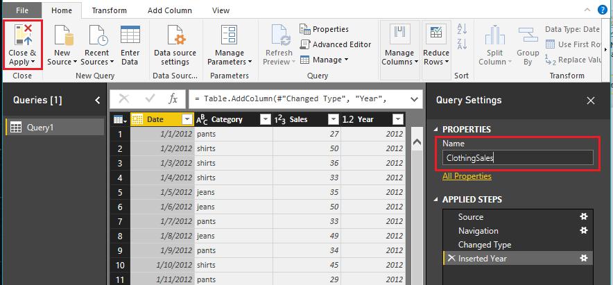 Load ClothingSales Data - تعریف و استفاده از متغیرها در DAX