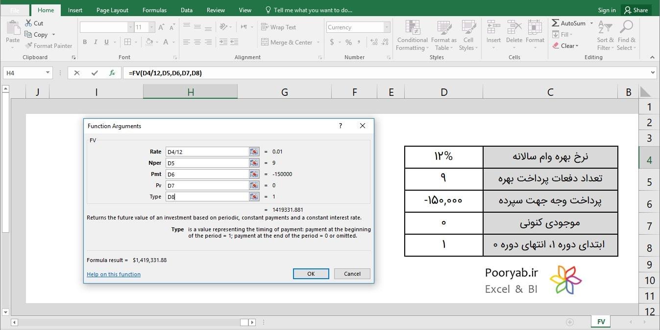 PV Image 1 min - تابع FV محاسبه ارزش آتی سرمایه گذاری در اکسل