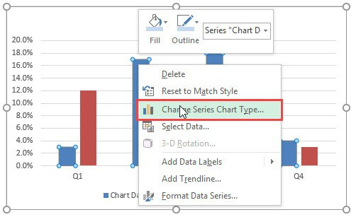Planned vs Actual Chart in Excel Change series chart type - ایجاد نمودار KPI (واقعی و هدف) در اکسل