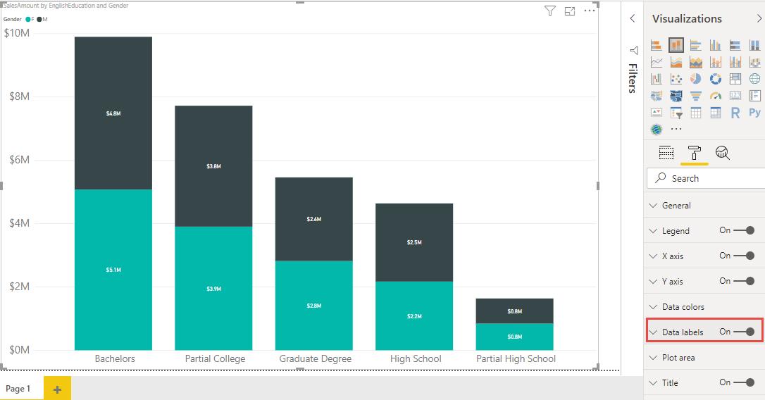 Screenshot 825 - نمایش جمع در Stacked Column Chart