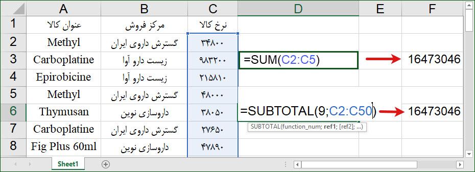 تابع Subtotal در اکسل