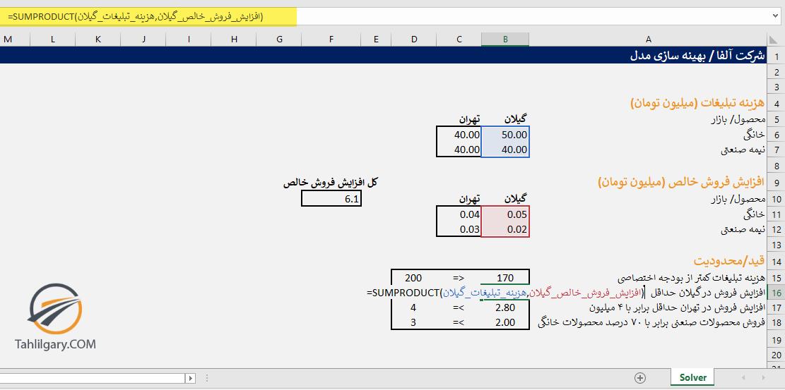 a1 - آموزش ابزار solver در اکسل