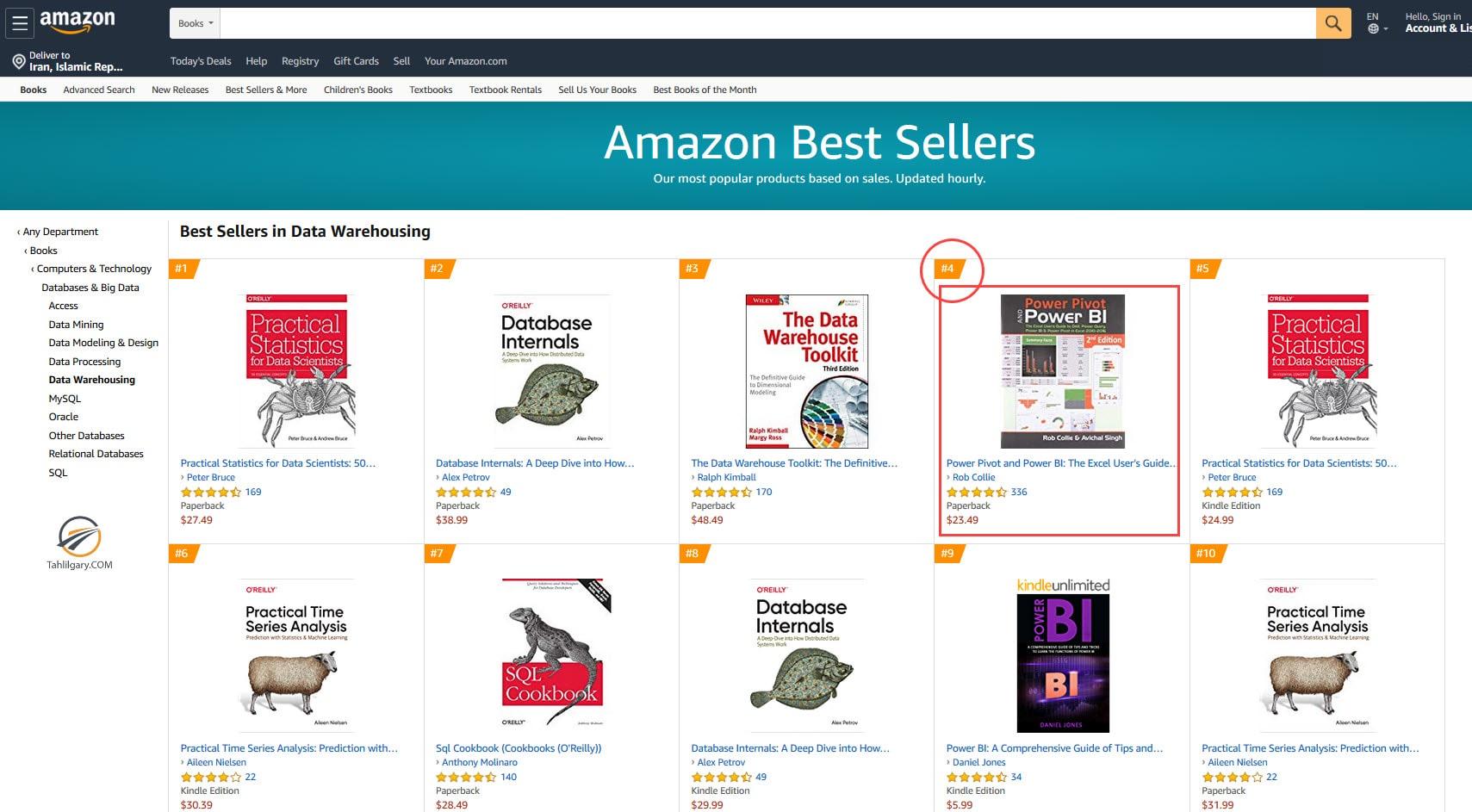 لیست کتاب ها در آمازون