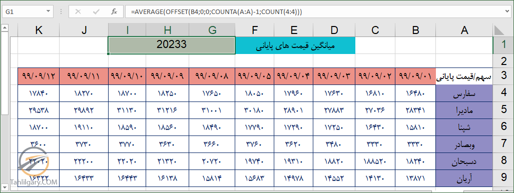 offset 27 - کاربرد تابع offset در اکسل