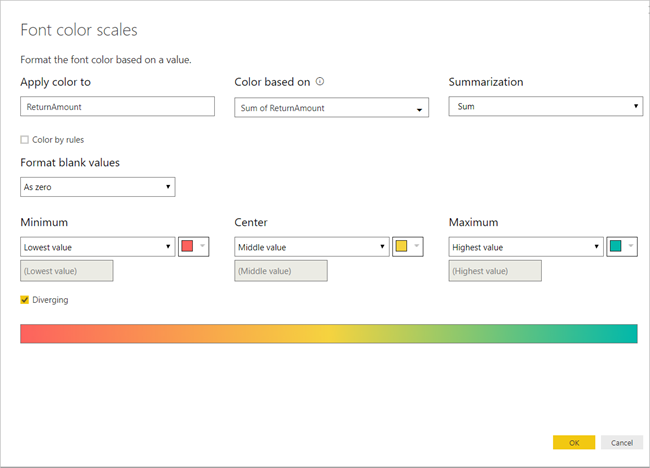 table formatting 2 diverging - فرمتدهی شرطی در Power BI