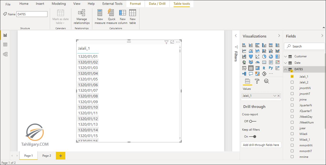 خروجی اکسل از ویژوال ها در Power BI